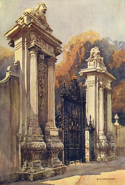 Associate Product The Lion Gate, Hampton Court. London. By Ernest Haslehust 1920 old print