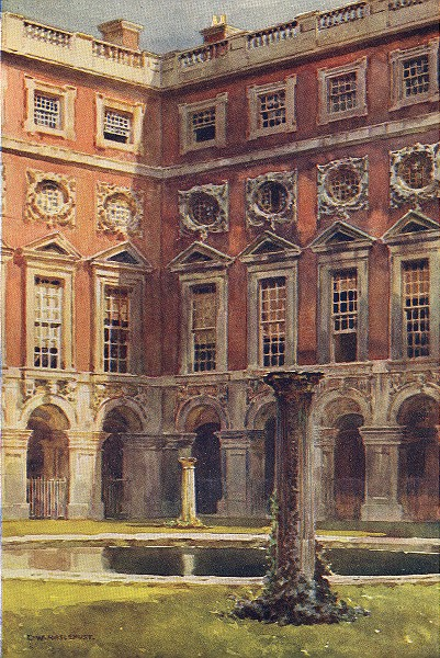 Associate Product Fountain Court, Hampton Court. London. By Ernest Haslehust 1920 old print