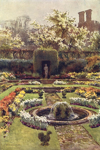 Associate Product The Pond Garden, Hampton Court. London. By Ernest Haslehust 1920 old print