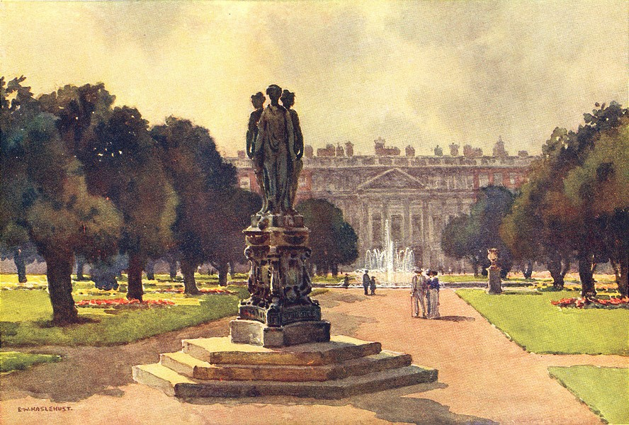 Associate Product East front from the Long Water, Hampton Court. London. By Ernest Haslehust 1920