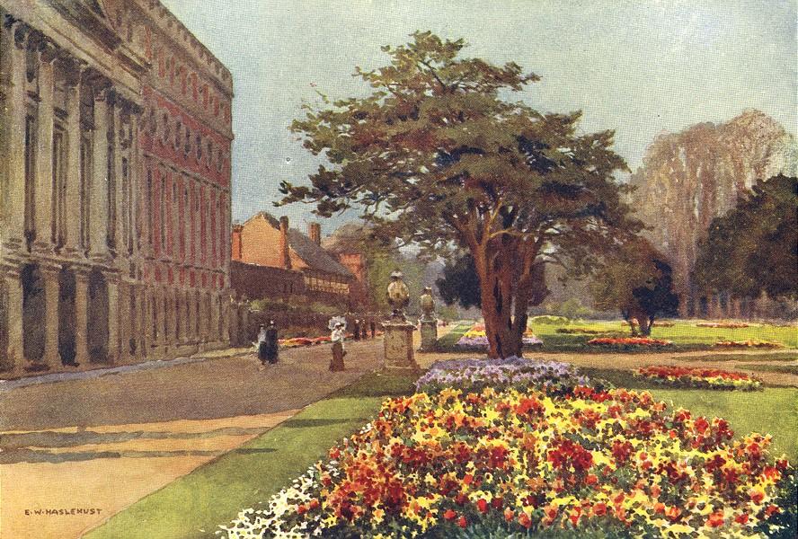 Associate Product The Long Walk, Hampton Court. London. By Ernest Haslehust 1920 old print