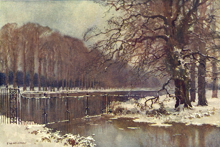 Associate Product The Long Water in winter, Hampton Court. London. By Ernest Haslehust 1920
