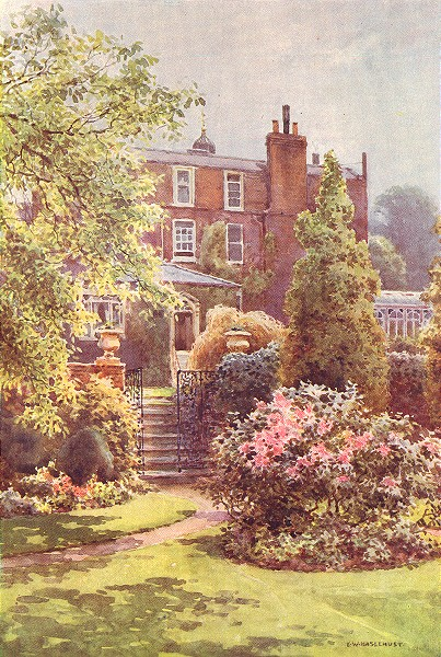 Associate Product Gadshill place from the gardens. Kent. By Ernest Haslehust 1920 old print