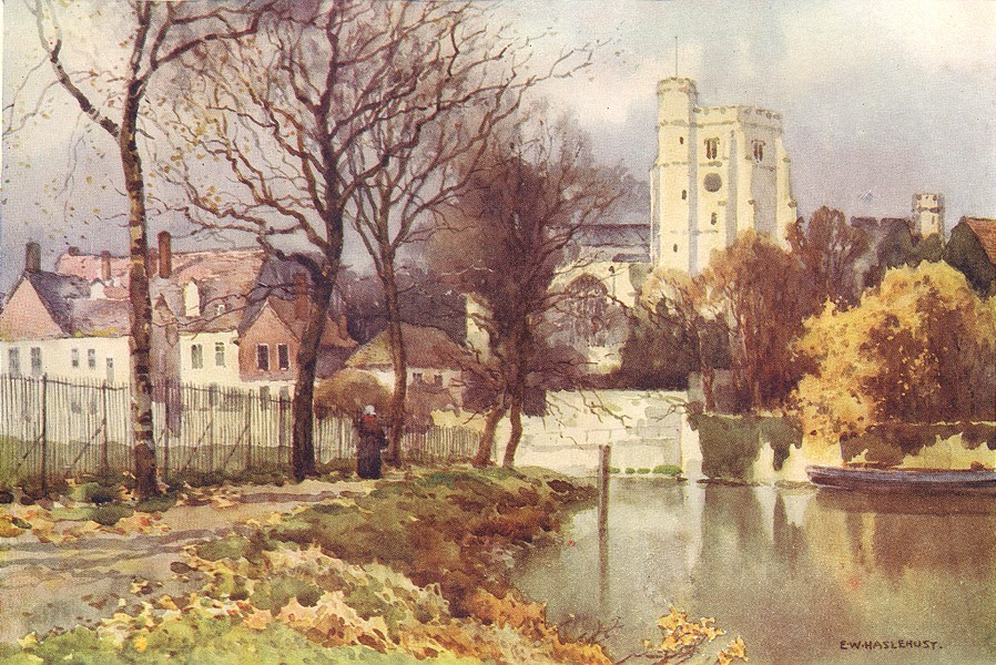Associate Product Maidstone, All Saints' Church and the Palace. Kent. By Ernest Haslehust 1920