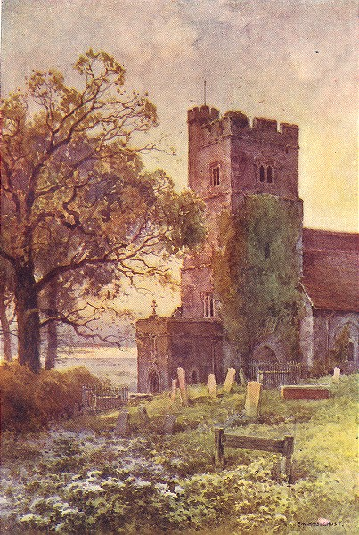 Associate Product Chalk Church. Kent. By Ernest Haslehust 1920 old vintage print picture