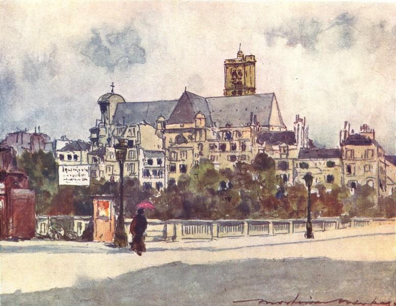 Associate Product PARIS. Au Bord de La Seine 1909 old antique vintage print picture