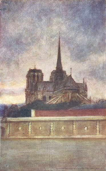 Associate Product PARIS. Notre Dame from the river 1909 old antique vintage print picture
