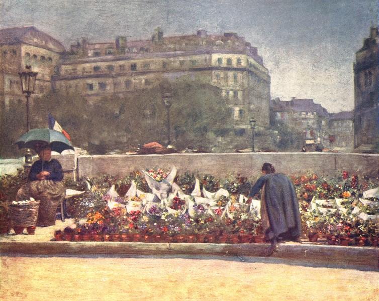 Associate Product PARIS. A Flower Market 1909 old antique vintage print picture