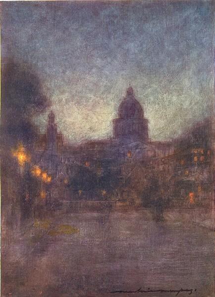 Associate Product PARIS. Paris by night 1909 old antique vintage print picture