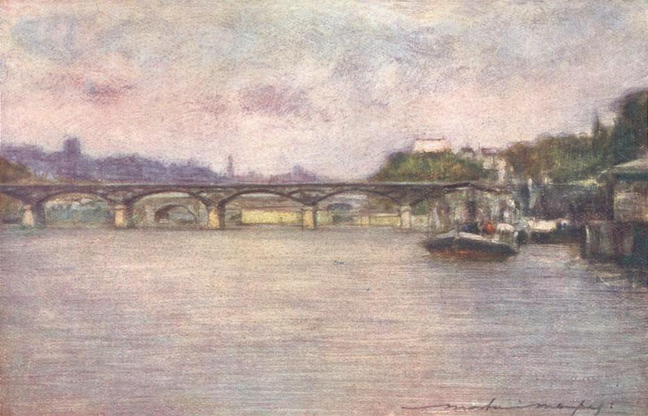 Associate Product PARIS. The Pont des Arts(Late Afternoon) 1909 old antique print picture