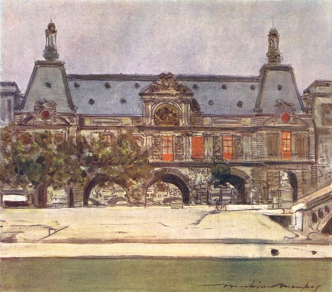 PARIS. The Louvre 1909 old antique vintage print picture