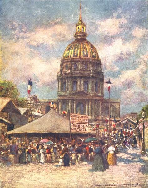 Associate Product PARIS. Hotel des Invalides en Fete 1909 old antique vintage print picture