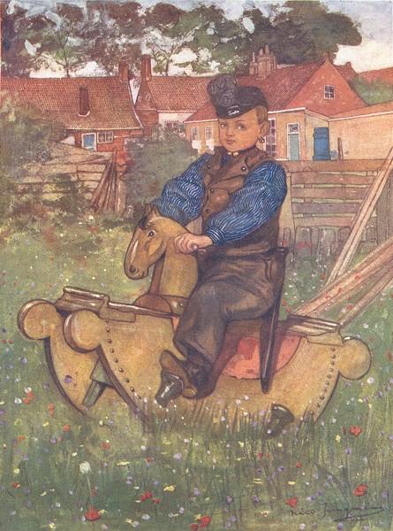 Associate Product NETHERLANDS. Zeeland. A boy of Veere Astride a rocking horse 1904 old print