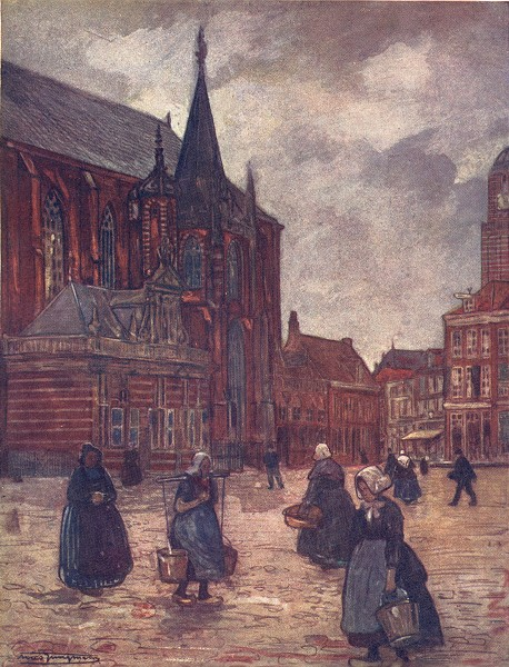Associate Product NETHERLANDS. North Brabant. The Market-place, Breda 1904 old antique print