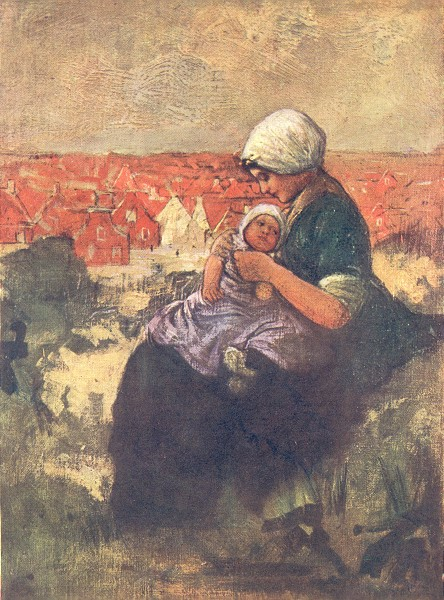 NETHERLANDS. South Holland. Mother and child of Scheveningen 1904 old print