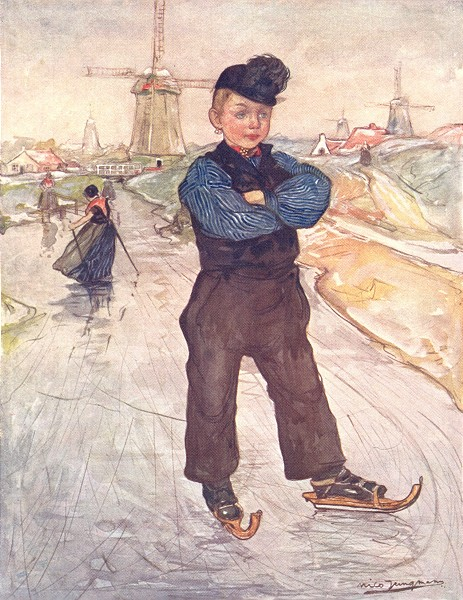 Associate Product NETHERLANDS. South Holland. A peasant boy of Veere on skates 1904 old print