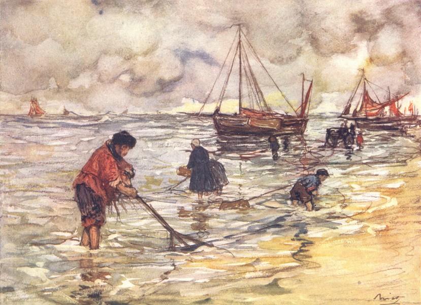 Associate Product NETHERLANDS. Utrecht. Shrimp-fishing 1904 old antique vintage print picture