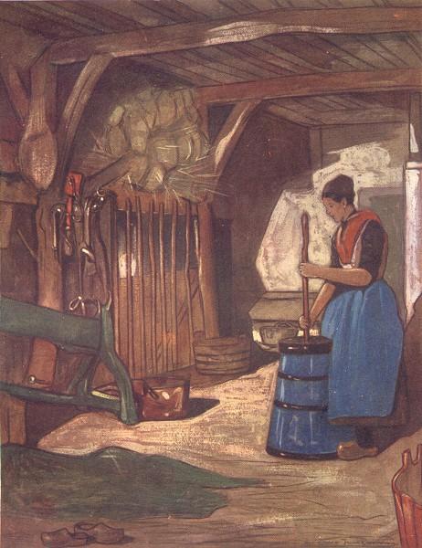 Associate Product NETHERLANDS. Gelderland. Churning at Elspeet 1904 old antique print picture