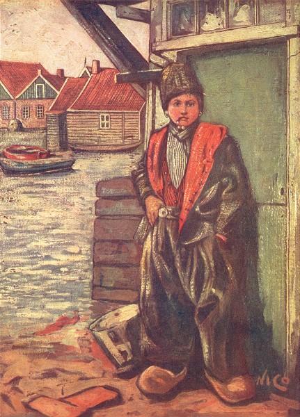NETHERLANDS. Overijssel. A Fisher-boy 1904 old antique vintage print picture