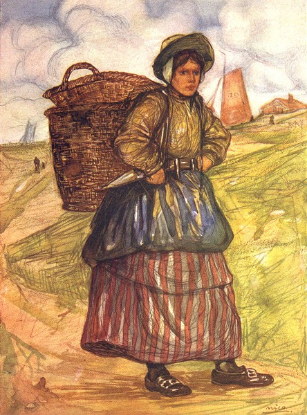 Associate Product NETHERLANDS. Friesland. A Fisherwoman of Zandvoort 1904 old antique print