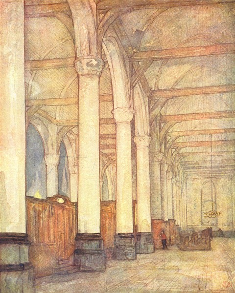 Associate Product NETHERLANDS. Friesland. A Church interior, Monnickendam 1904 old antique print