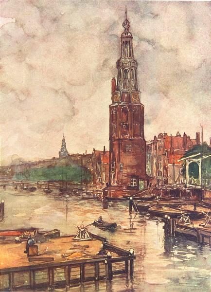 Associate Product NETHERLANDS. North Holland. Montelbaanstoren, Amsterdam 1904 old antique print