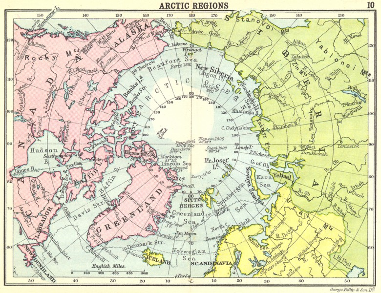 ARCTIC. Arctic Regions; Small map 1912 old antique vintage plan chart