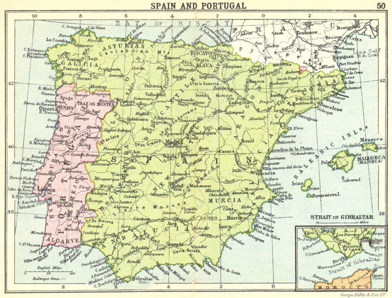 Map Of Spain Almeria.Details About Spain Spain And Portugal Inset Map Of Strait Of Gibraltar Small Map 1912