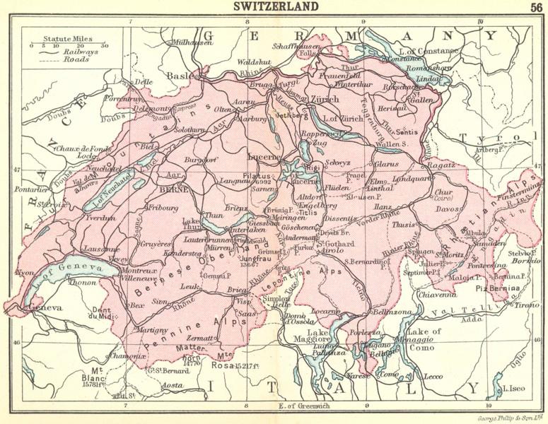 SWITZERLAND. Switzerland; Small map 1912 old antique vintage plan chart