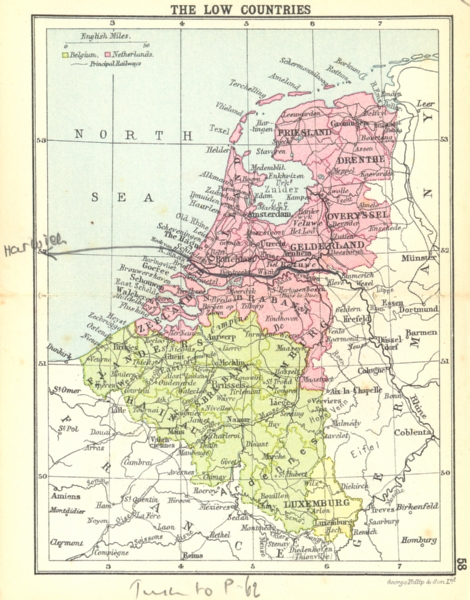 Associate Product BENELUX. The Low Countries; Small map 1912 old antique vintage plan chart
