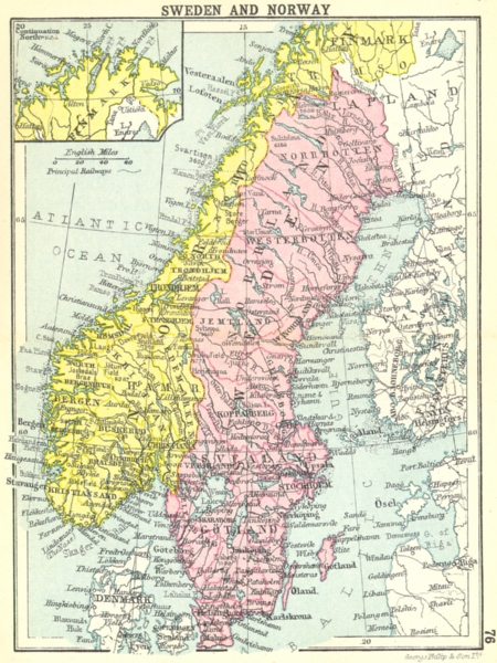 Associate Product SWEDEN. Sweden and Norway; Inset map of Finmark; Small map 1912 old