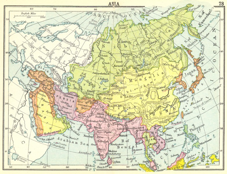 Associate Product ASIA. Asia; Small map 1912 old antique vintage plan chart