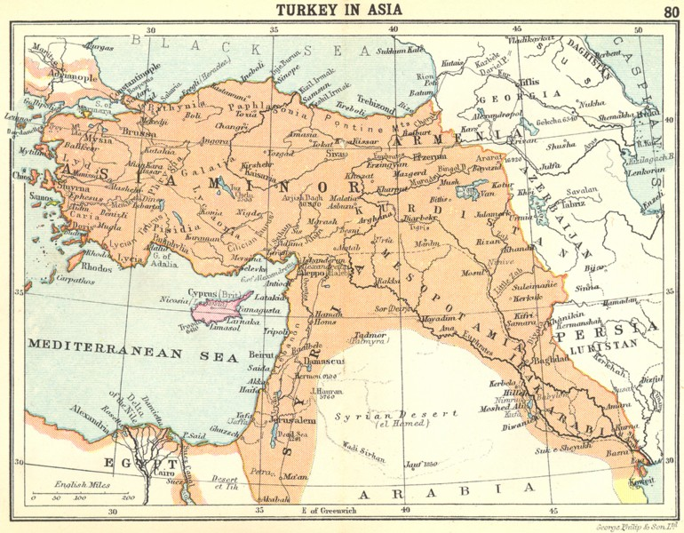 Associate Product TURKEY. Turkey in Asia; Small map 1912 old antique vintage plan chart