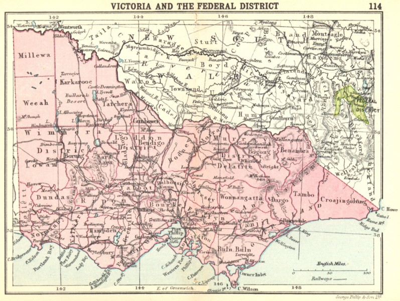 Associate Product AUSTRALIA. Victoria and the Federal District; Small map 1912 old antique
