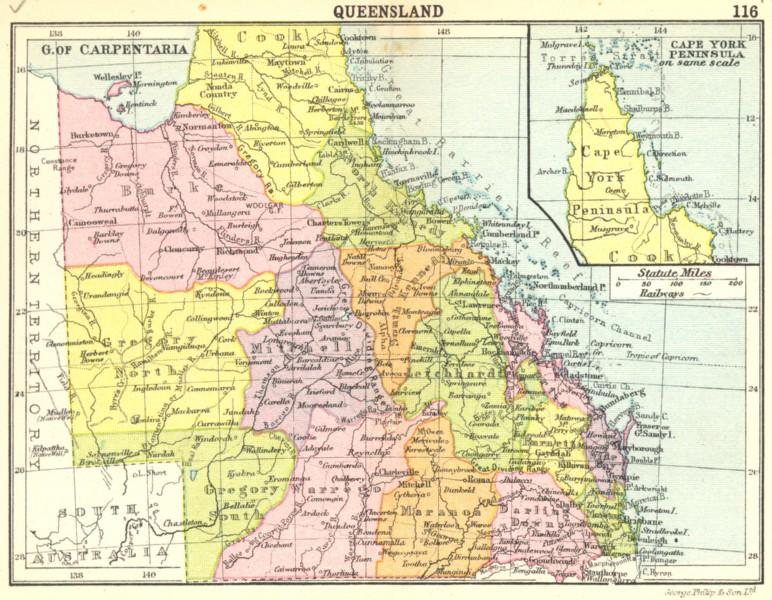 Map Of Australia Cape York Peninsula.Details About Australia Queensland Inset Map Of Cape York Peninsula Small Map 1912