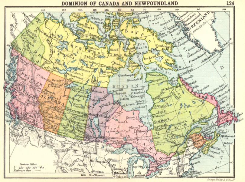 Associate Product CANADA. Dominion of Canada and Newfoundland; Small map 1912 old antique