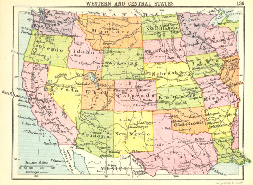 Associate Product USA. Western and Central States; Small map 1912 old antique plan chart
