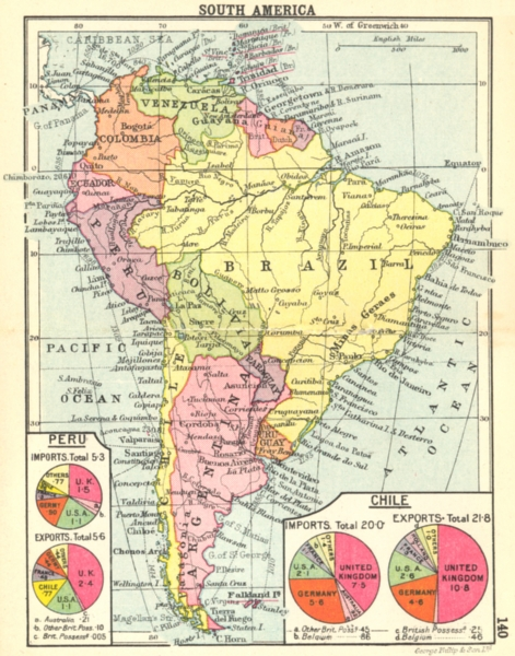 SOUTH AMERICA. South America; Small map 1912 old antique plan chart