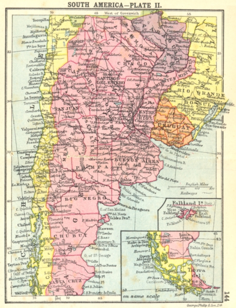 Associate Product SOUTH AMERICA. Plate II Inset Maps of Falkland Tierra del Fuego Small map 1912
