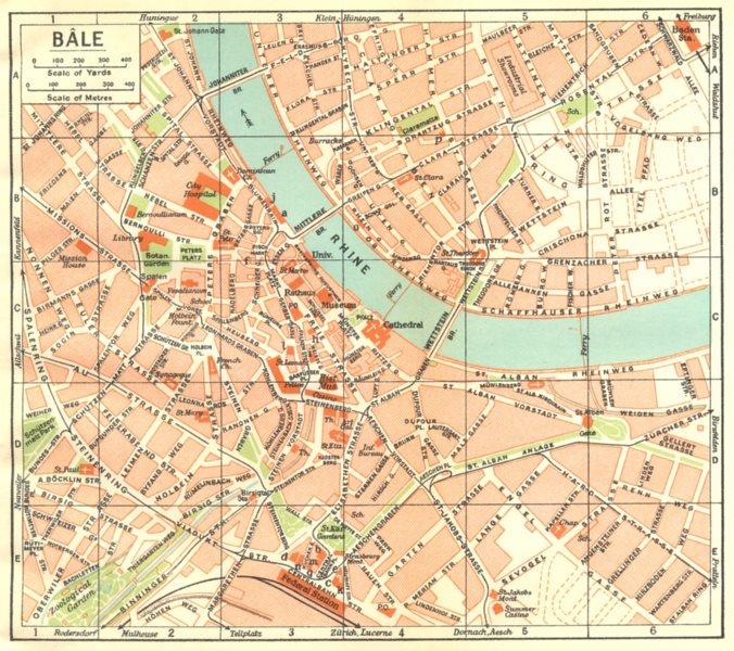 SWITZERLAND. Bale 1930 old vintage map plan chart