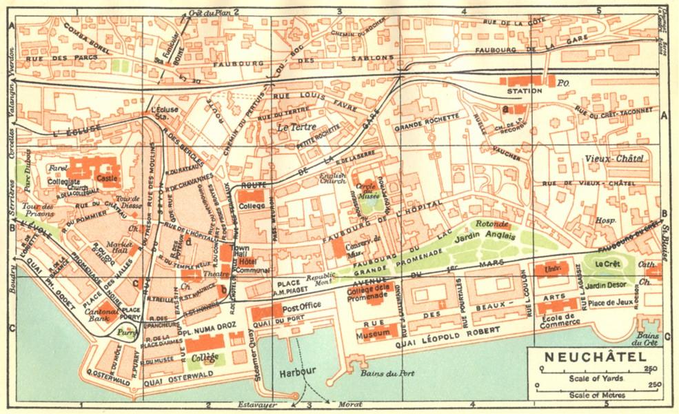 Associate Product SWITZERLAND. Neuchatel 1930 old vintage map plan chart