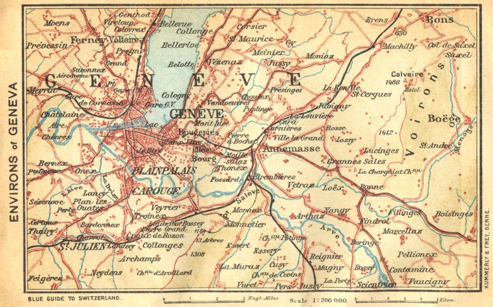 Associate Product SWITZERLAND. Environs of Geneva 1930 old vintage map plan chart