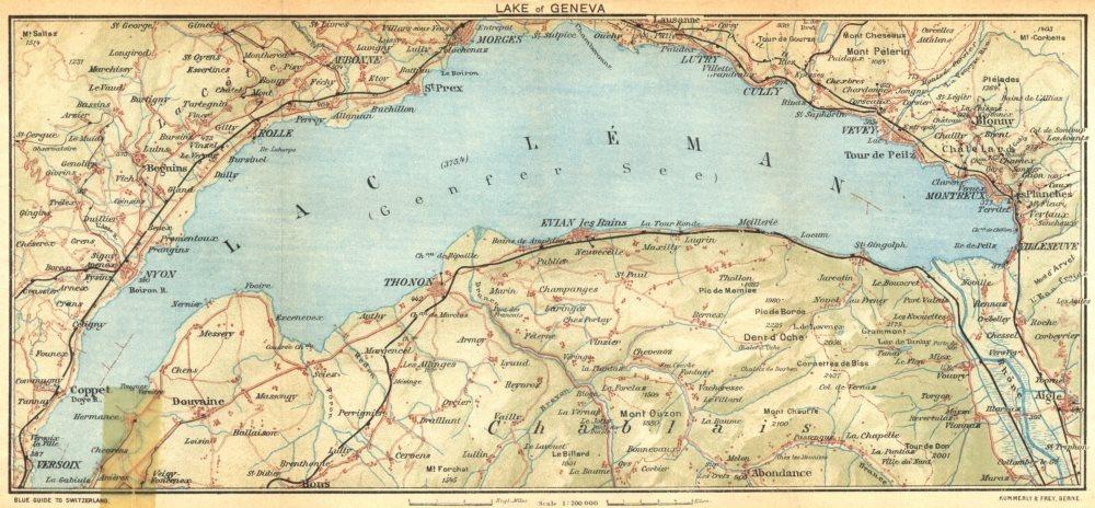 Associate Product SWITZERLAND. Lake of Geneva 1930 old vintage map plan chart