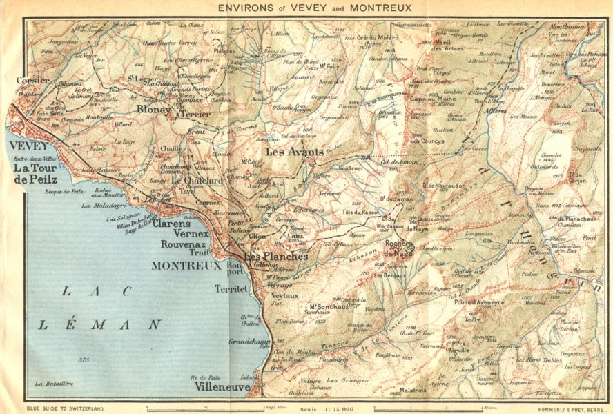 Associate Product SWITZERLAND. Environs of Vevey and Montreux 1930 old vintage map plan chart