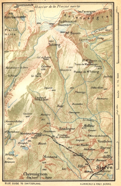 Associate Product SWITZERLAND. Environs of Montana 1930 old vintage map plan chart