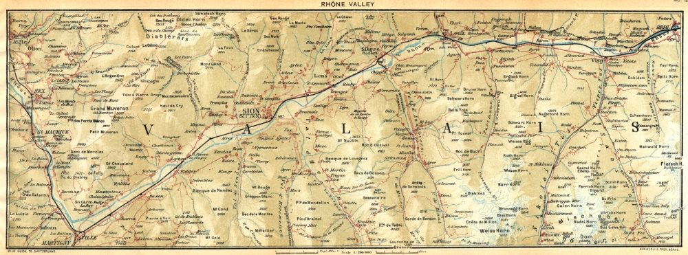 Associate Product SWITZERLAND. Rhone Valley 1930 old vintage map plan chart