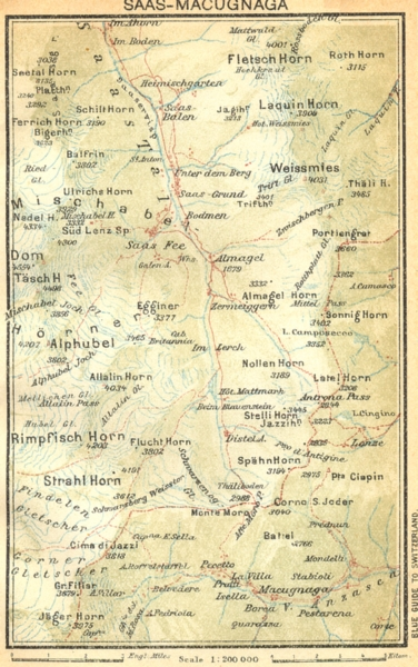 Associate Product SWITZERLAND. Saas-Macugnaga 1930 old vintage map plan chart