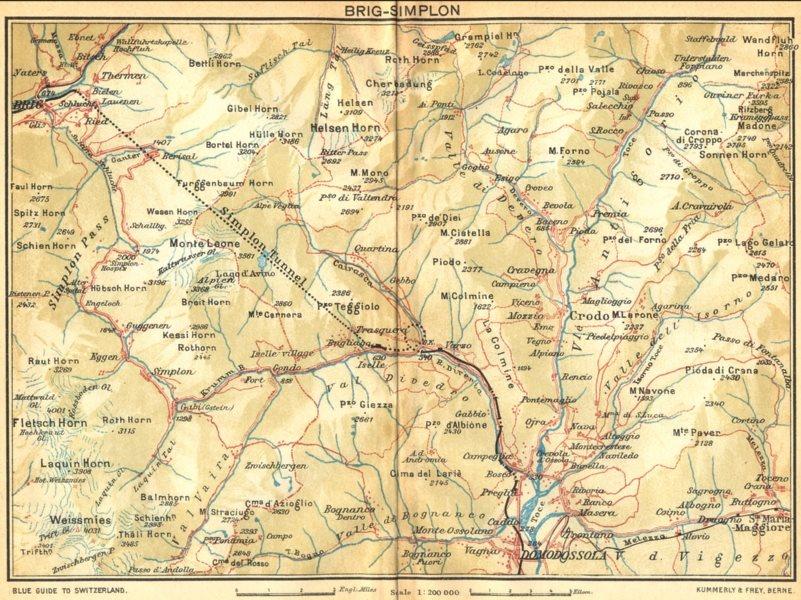 Associate Product SWITZERLAND. Brig-Simplon 1930 old vintage map plan chart