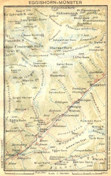 SWITZERLAND. Eggishorn-Munster 1930 old vintage map plan chart