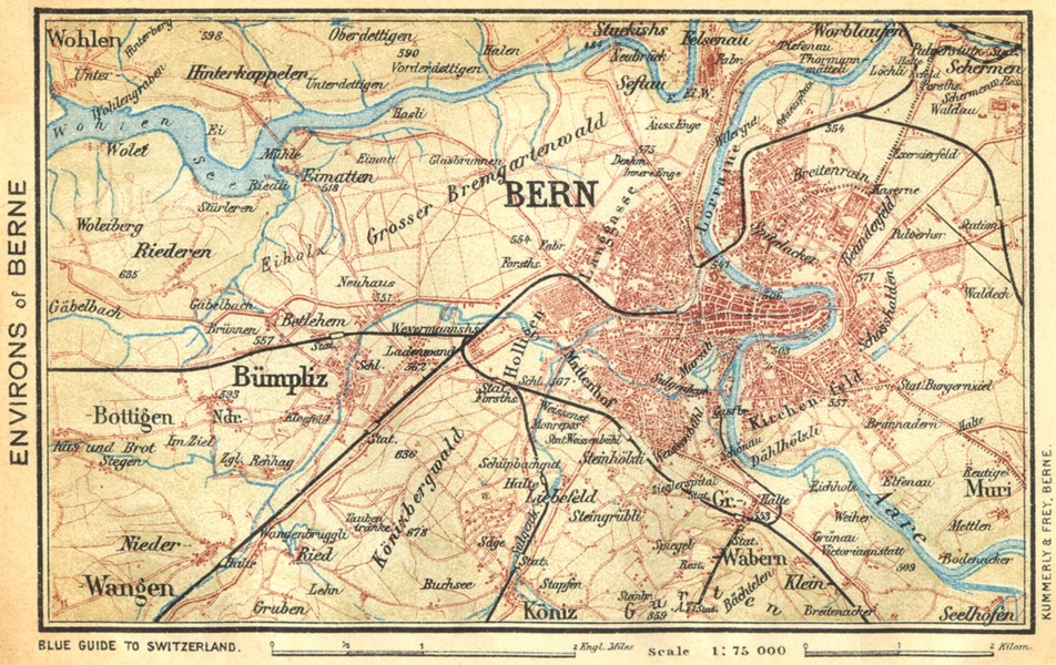 Associate Product SWITZERLAND. Environs of Berne 1930 old vintage map plan chart
